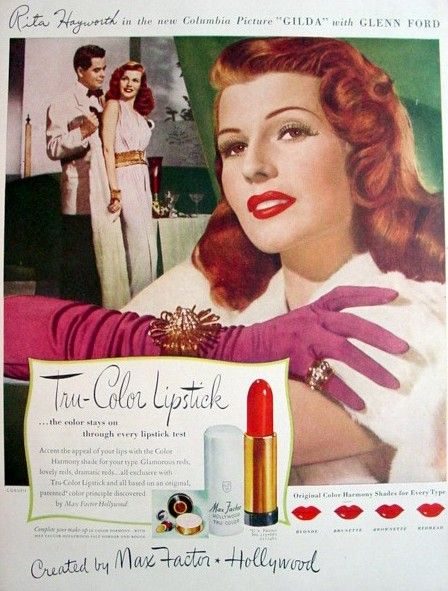 Rita Hayworth advertising tru color lipstick for max Factor, 1940s
