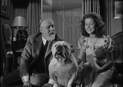 "Shirley Temple with Monty Wooley and Soda the dog in my favorite movie, ""Since You Went Away"""