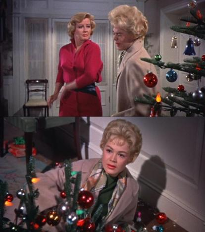 "Helen Jorgensen angrily slaps her daughter Molly in ""A Summer Place"" sending her into their plastic Christmas tree- Screen capped by Hollywood Comet"