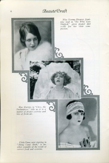 Norma Shearer, Mae Murray and Viola Dane in a 1925 Beaute Craft article.