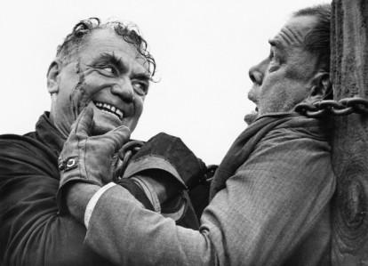 "Borgnine could be rough, like in the ""Emperor of  North Poll"" (1973) as he strangles Lee Marvin."