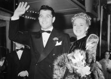 "Tony Martin with ex-wife, Alice Faye in 1939 at the premiere of ""Hollywood Cavalcade."""