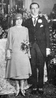 Basil Rathbone and his wife on their wedding day