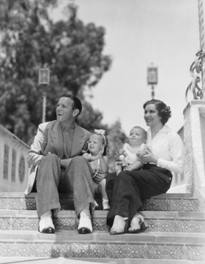 Comedic couple George Burns and Gracie Allen in 1936 with their children Sandra and Ronnie