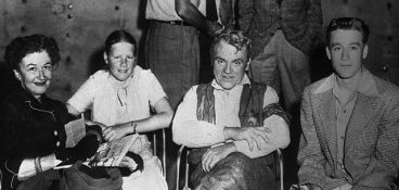 "James Cagney's family visiting him on the set of ""Run For Cover"" in 1955."