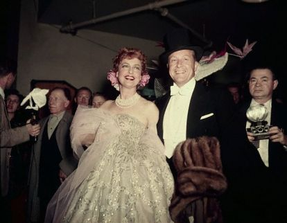 Gene Raymond and Jeannette MacDonald in 1955 at a circus themed benefit