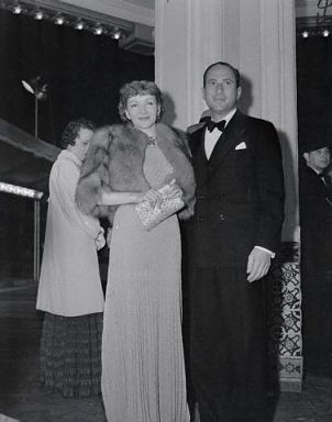 "Claudette Colbert and Joel Pressman in 1938 at the ""Alexander's Ragtime Band"" premier"