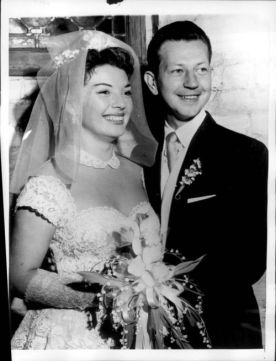 Donald O'Connor and his wife Gloria on their wedding day