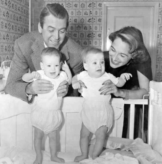 James and Gloria Stewart with their twin daughters