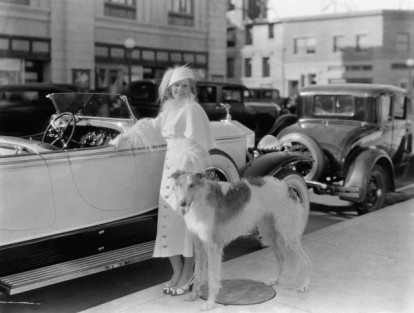 Jean Harlow in 1932 with a Borzoi