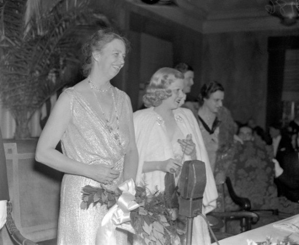 Harlow with First Lady Eleanor Roosevelt in 1937, celebrating the 55 birthday of President Roosevelt. She was also helping raise funds for infantile paralysis.