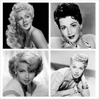 Various Lana Turner hairstyles in the 1940s and 1950s