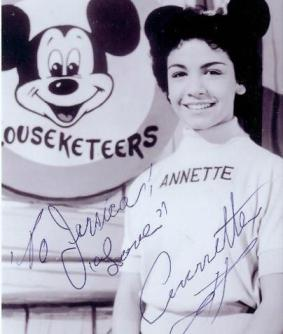Annette was an original Mousketeer on the Mickey Mouse Club. She autographed a photo for me in 2008