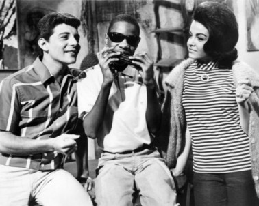 "Stevie Wonder, early in his career, with Annette Funicello and Frankie Avalon in ""Muscle Beach"""