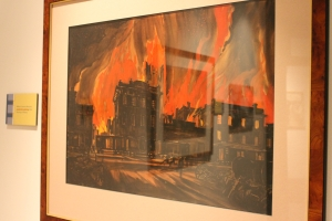 William Cameron Menzies's production painting for the burning of Atlanta scene