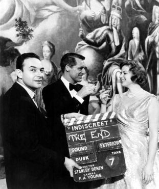 "The end. On the set of ""Indiscreet"" with Ingrid Bergman and Cary Grant"