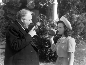 "W.C. Fields and Gloria Jean in ""Never Give a Sucker an Even Break."""