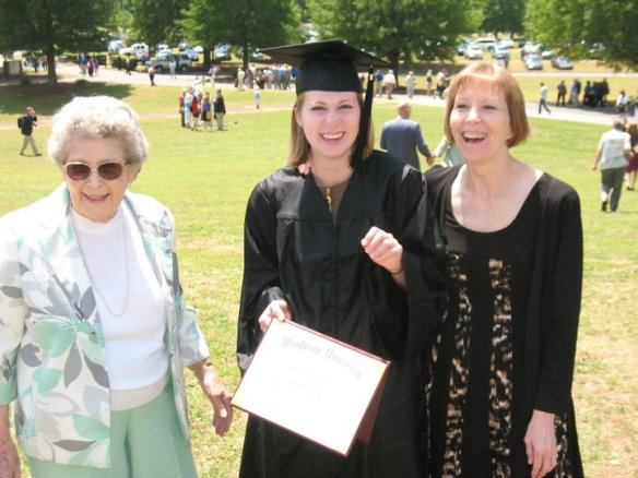 College graduation in 2011 from Winthrop University with my mom and gradmother