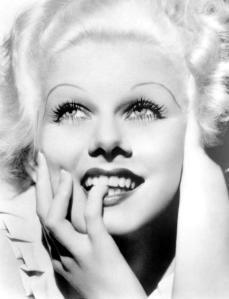 Jean Harlow with her signature, exaggerated eyebrows.