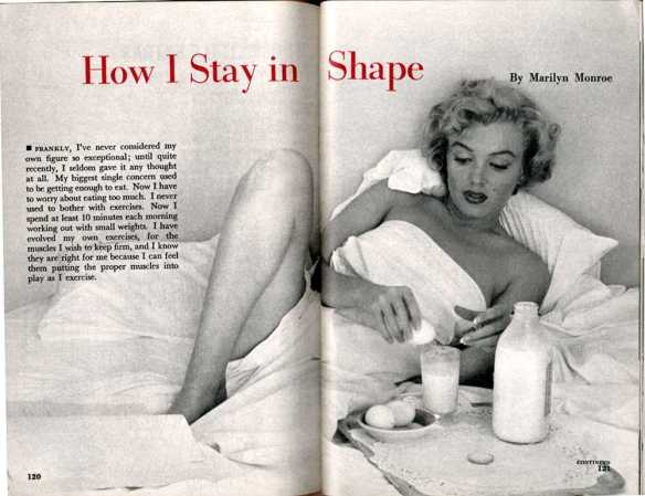 An article about Monroe's diet routine in Pageant magazine, Sept. 1952