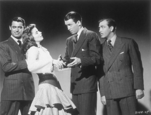 Katharine Hepburn as Tracy Lord with too many men after her