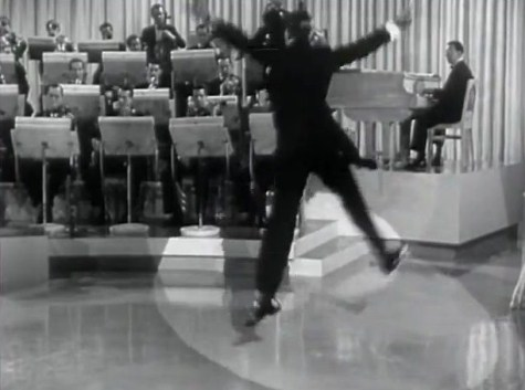 "Astaire leaps while directing Artie Shaws band and tap dancing in the finale of ""Second Chorus."" (Comet Over Hollywood/Screen cap by Jessica Pickens)"