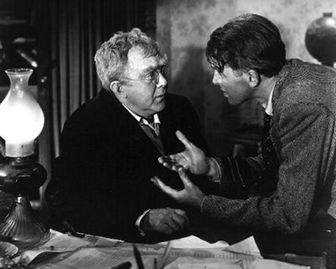 "James Stewart as George Bailey asks Thomas Mitchell as Uncle Billy how he lost the money in ""It's a Wonderful Life."""