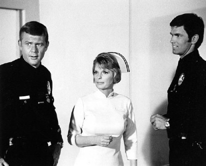 "Milner and McCord with Julie London as Dixie McCall-an ""Emergency!"" character"