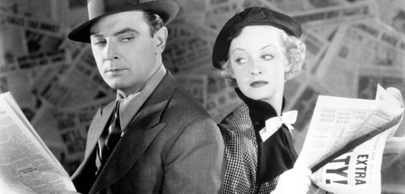 "George Brent and Bette Davis in newspaper film ""Front Page Woman"" (1935)"