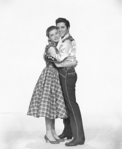"Dolores Hart with Elvis Presley in 1957 in a still for ""Loving You"""