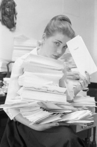 Hart with fan mail in 1960