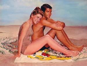 "Dolores Hart with George Hamilton in ""Where he Boys Are"""