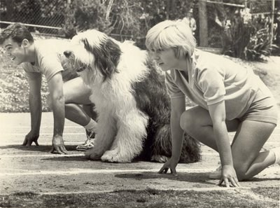 Warren Berlinger as Mike Benson, Clown the dog and Patty Duke as Billie.