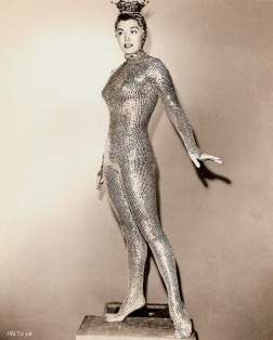 "Esther Williams in her gold sequined costume for ""Million Dollar Mermaid"" (1952)"