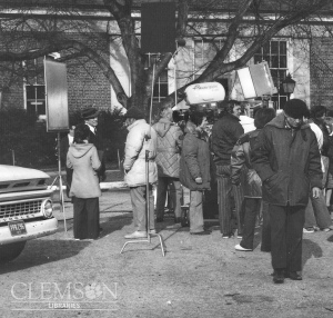 "Burt Lancaster filming scenes from ""Midnight Man"" on the campus of Clemson University. Source: Clemson archives"