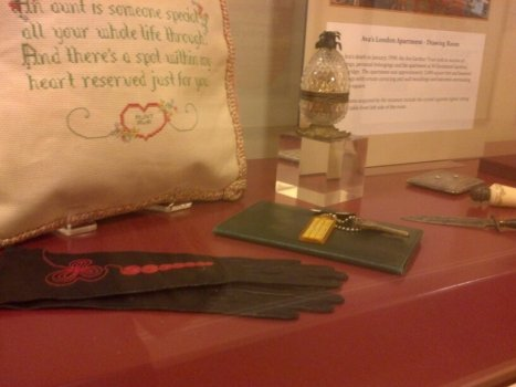 Personal items from Gardner's London apartment. The needle point pillow talks about being an aunt. (Comet Over Hollywood/Jessica P)
