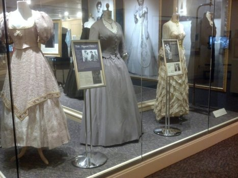 "Left to right: Dresses from ""Ride Vaquero"" starring Robert Taylor and a dress from ""My Forbidden Past"" starring Robert Mitchum. (Comet Over Hollywood/Jessica P)"