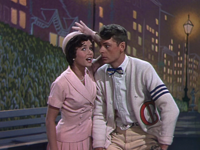 "Debbie Reynolds dressed as Helen Kane with Carleton Carpenter singing ""I Wanna Be Loved By You."""