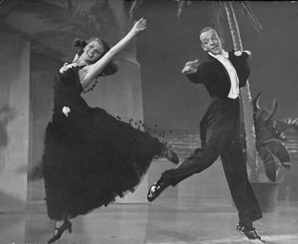 "Rita Hayworth and Fred Astaire dancing in the ""So Near and Yet So Far"" number."