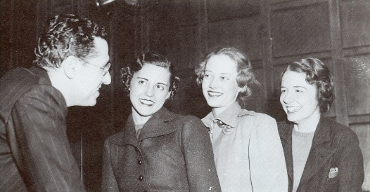 "Director George Cukor with interviews actresses to play the role of ""Scarlet O'Hara"": Louisa Robert, Atlanta; Susan Fallingant, Atlanta; Alicia Rhett, Charleston. (Scanned from ""The Pictorial History of Gone with the Wind"")"