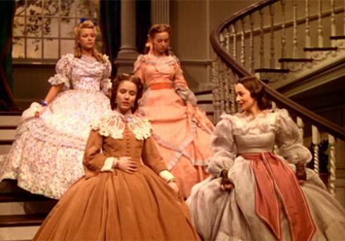 Rhett (bottom right) in a scene with Marjorie Reynolds, Evelyn Keyes and Olivia De Havilland.