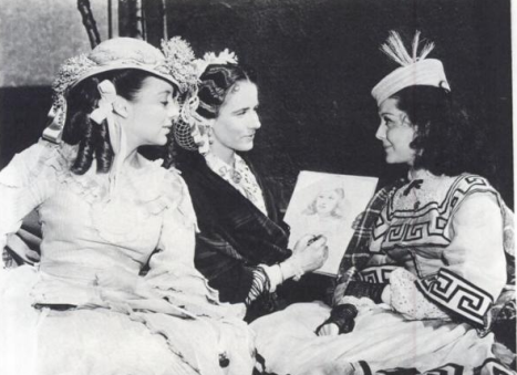 "During the filming of ""Gone with the Wind,"" Alicia Rhett made sketches between takes. Here with Evelyn Keyes and Ann Rutherford. (Scanned from ""The Filming of Gone with the Wind"" by Herb Bridges)"