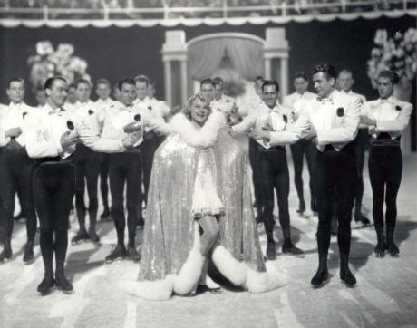 The film ends with a lavish ice skating performance with Sonja Henie and several skating men.