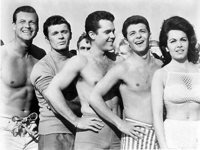 """Jody McCrea (Joel McCrea's son), Dick Dale, John Ashley, Frankie Avalon and Annette Funicello in """"Muscle Beach Party"""""""