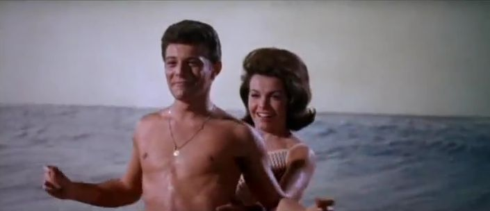 """Frankie and Annette """"surfing"""" in """"Muscle Beach Party"""" (Comet Over Hollywood/Screen capped by Jessica P.)"""