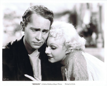 "Hungover Franchot Tone isn't too sure about his marriage to Jean Harlow in ""Reckless."""