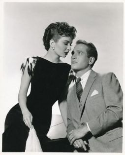 "Ann Blyth and Paul Newman in a publicity still for ""The Helen Morgan Story"""