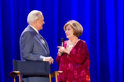 Diane Baker with Robert Osborne during the Ask Robert Event at The Montalban Theatre on Friday at the 2014 TCM Classic Film Festival In Hollywood, California. 4/11/14  PH: Mark Hill