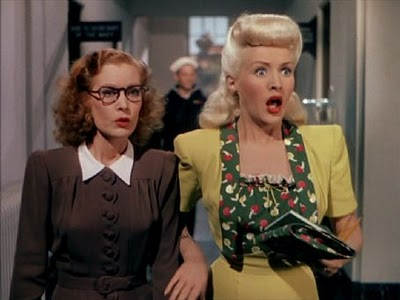 """Lorry (Grable) and Kay (Kent) are nearly caught in one of their lies in """"Pin Up Girl"""""""