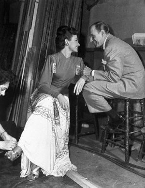 "Day and Durocher smitten on the set of ""Tycoon"" in 1947."